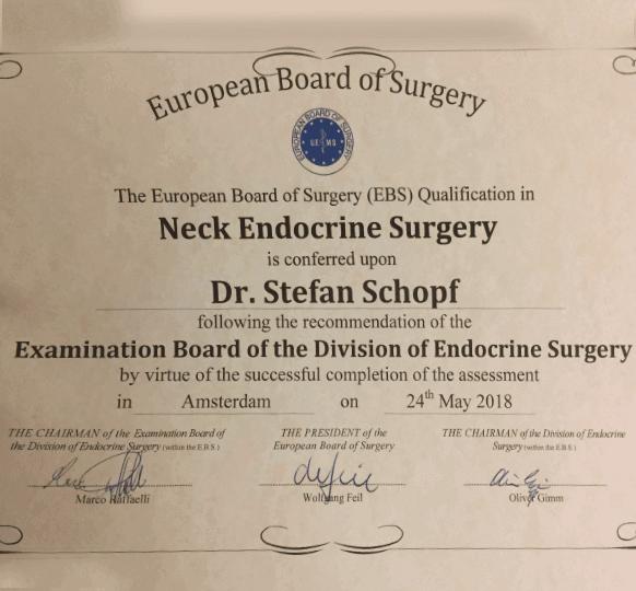 Zertifikat Neck Endocrine Surgery